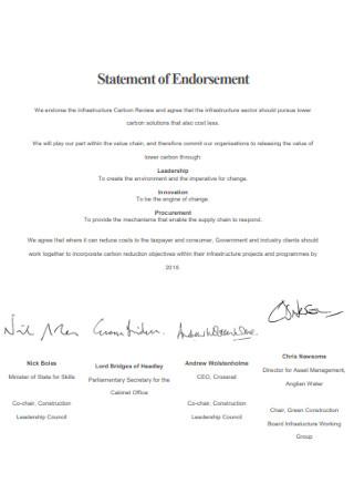 Statement of Endorsement Format