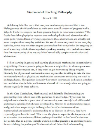 Statement of Physics Teaching Philosophy