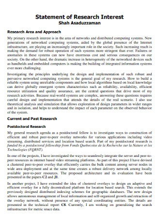 Statement of Research Interest Template