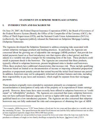 Statement on Subprime Mortage