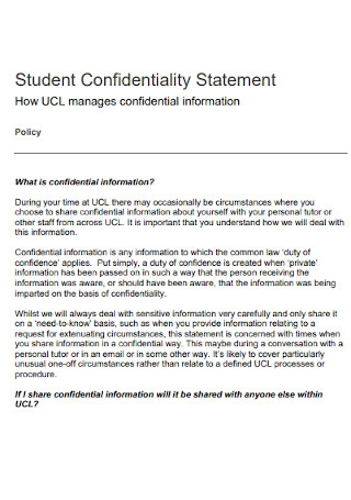 Student Confidentiality Statement Template
