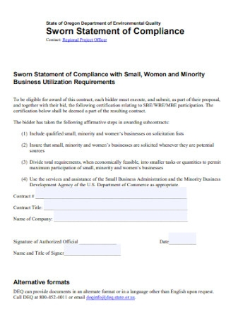 Sworn Statement of Compliance Template