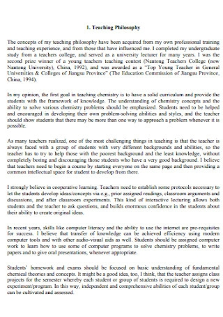 Teaching Experience Philosophy Statement