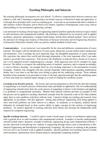 Teaching Philosophy and Interests Statement