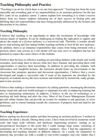 Teaching Philosophy and Practice Statement