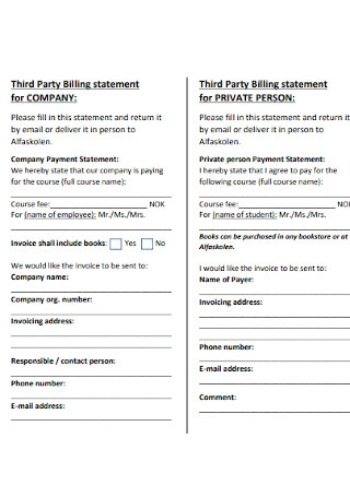 Third Party Billing Statement Example