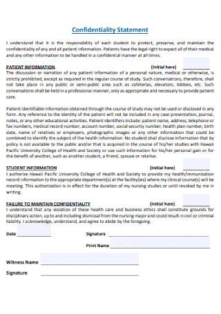 University Confidentiality Statement Example