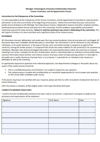 University Confidentiality Statement Template