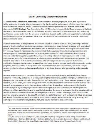 University Diversity Statement Example