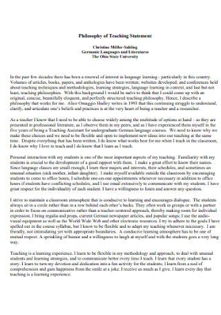 University Philosophy of Teaching Statement