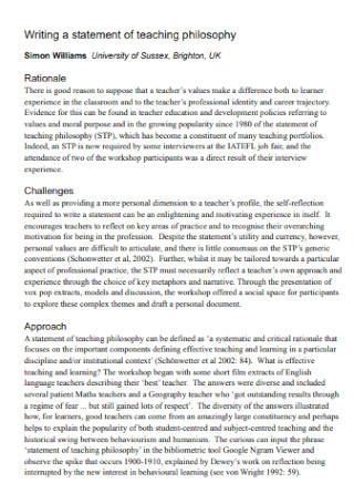 University Writing Teaching Philosophy Statement