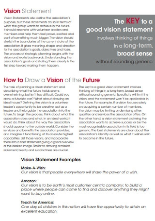 Volunteer Vision Statement Template