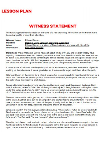 Witness Lesson Plan Statement