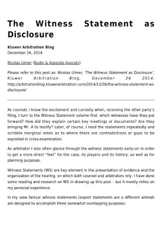 Witness Statement as Disclosure Template