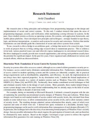 Work Research Statement