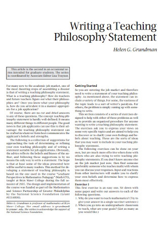 Writing a Teaching Philosophy Statement Example