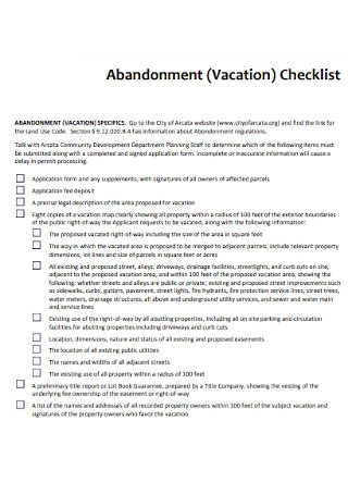 Abandonment Vacation Checklist