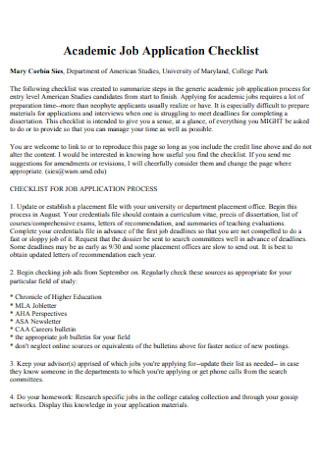Academic Job Application Checklist