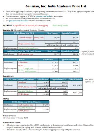 Academic Price List Template