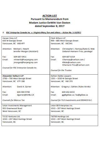 Action List Format