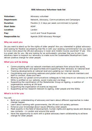 Advocacy Volunteer Task List