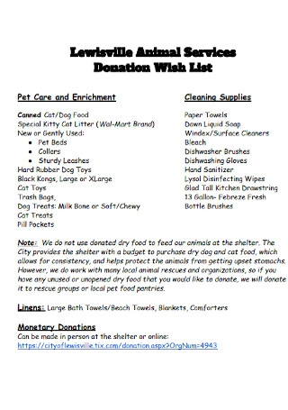 Animal Donation Wish List