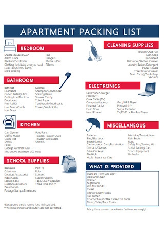Apartment Packing List Template