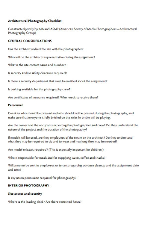 Architectural Photography Checklist Template