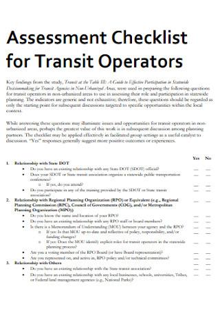Assessment Checklist for Transit Operators