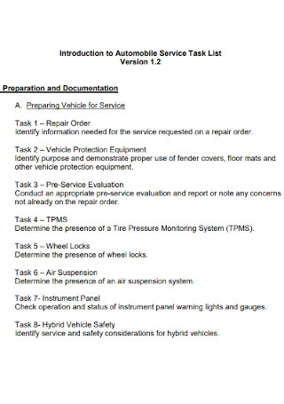 Automobile Service Task List