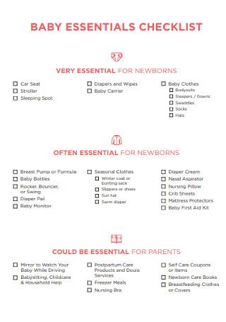 Baby Essential Regiistry Checklist