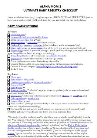 Baby Moms Registry Checklist