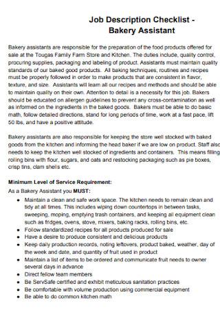 Bakery Assistant Job Checklist