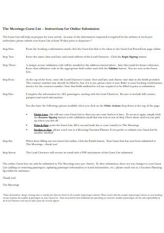 Basic Moorings Guest List