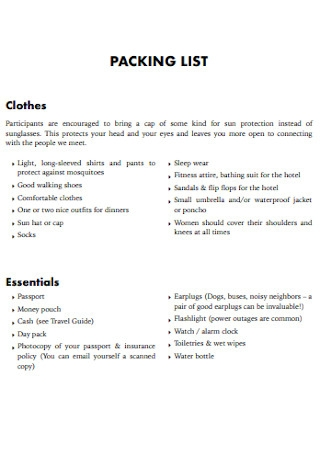 Basic Packing List Template