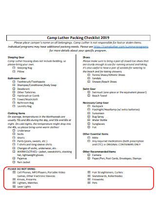 Beach Camp Packing Checklist