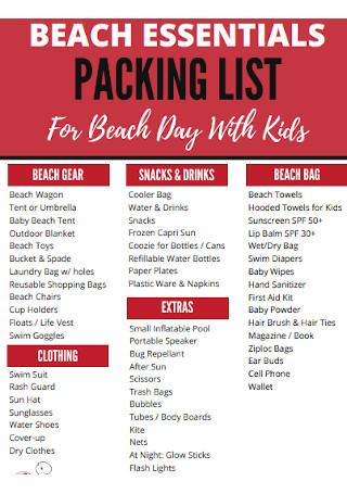 Beach Esstials Packing List