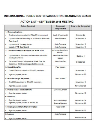Board Action List Template