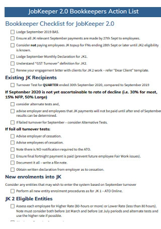 Bookkeepers Action List