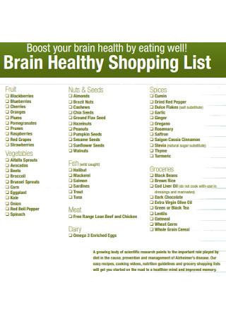 Brain Healthy Grocery List