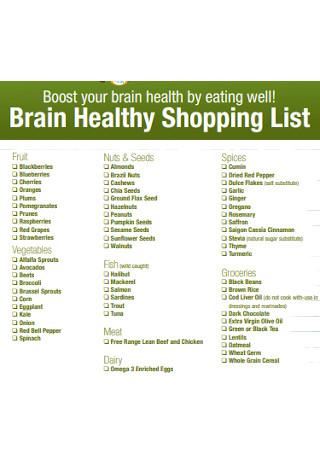 Brain Healthy Shopping List