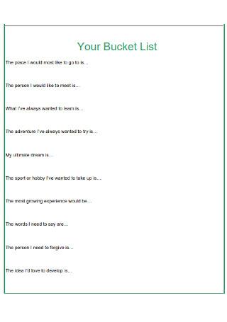 Bucket List Format