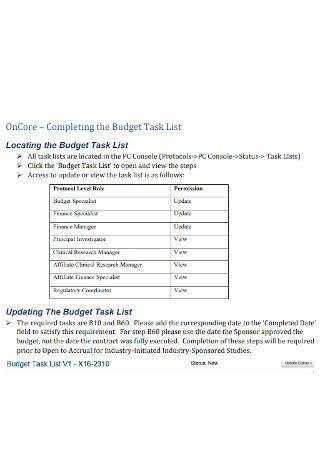 Budget Task List