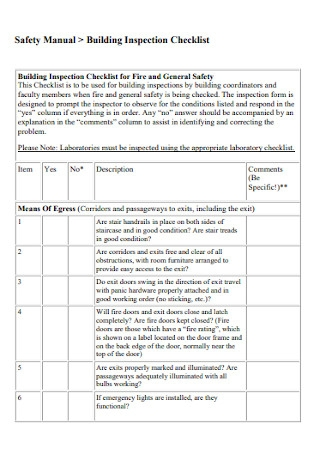 Building Safety Inspection Checklist