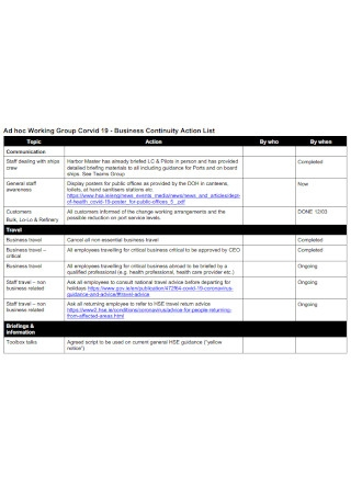 Business Continuity Action List