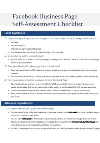 Business Self Assessment Checklist