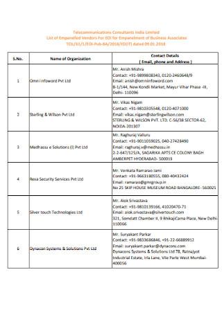Business Vendor Contact List