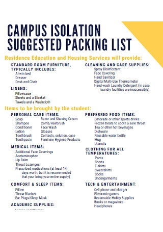Campus Packing List Template
