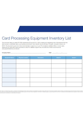 Card Processing Equipment Inventory List