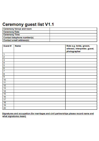 Ceremony Guest List